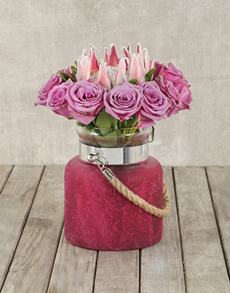 flowers: King Protea & Roses in Hurricane Rope Vase!