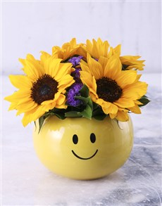 Sunflower Smiley Pot