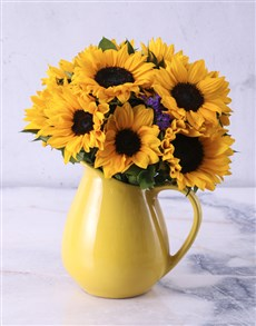flowers: Sunflowers in Ceramic Water Jug!