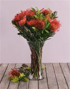 flowers: Pinchcushion Proteas in Small Flair Vase!