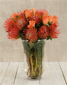 flowers: Pincushions & Roses in Hurricane Vase!