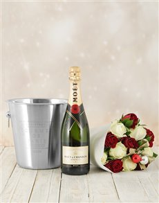 Festive Roses Moet & Chandon and Ice Bucket!