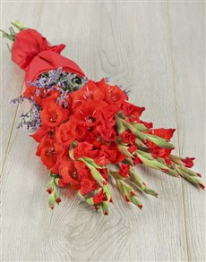 flowers: Red Gladiolus and Statice Bouquet!