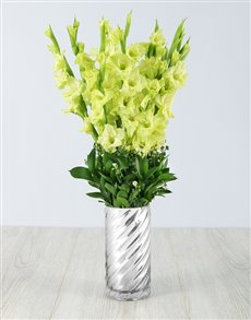 plants: Green Gladiolus in a Silver Vase!