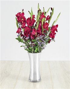 plants: Purple Gladiolus and Latifolia in Silver Vase!