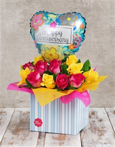 flowers: Anniversary Vibrancy Rose and Balloon Box!