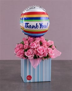 gifts: Thank You Balloon and Pink Rose Box!