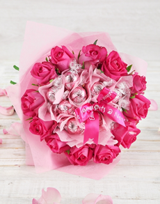gifts: Pink Bliss Rose and Lindt Bouquet!