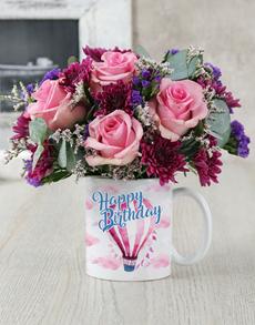 flowers: Happy Birthday Air Balloon Mug Arrangement!