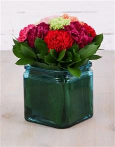 flowers: Mixed Carnations and Aspidistra Vase!