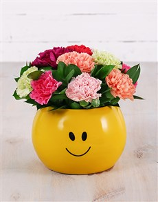 flowers: Mixed Carnations in Smiley Pot!