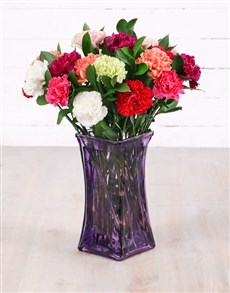 flowers: Mixed Carnations in Lady Flair Vase!