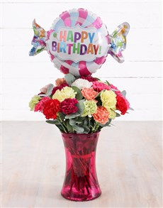 gifts: Carnations and Birthday Balloon Treat!