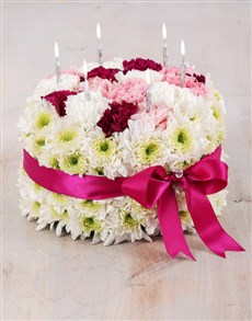 flowers: Carnations and Sprays Cake with Berry Ribbon!