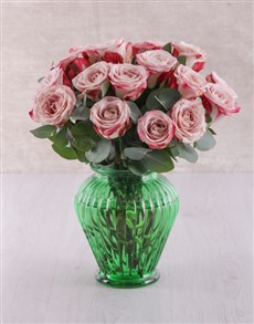 flowers: Variegated Roses in Green Vase!