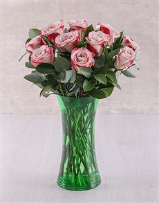 flowers: Variegated Roses in Green Flair Vase!