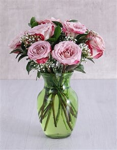 flowers: Variegated Roses in Lime Green Vase!