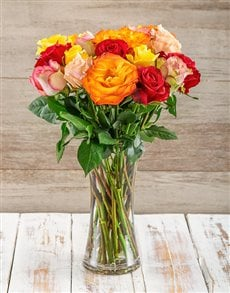 flowers: Mixed Giant Ethiopian Roses in a Vase!