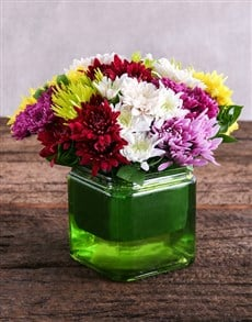 flowers: Mixed Sprays in Square Green Vase!