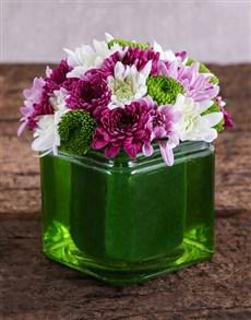 flowers: Green Square Vase of Sprays!