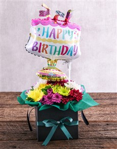 flowers: Happy Birthday Balloon and Sprays in Black Box!