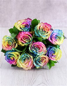 flowers: Rainbow Ethiopian Rose Bouquet!
