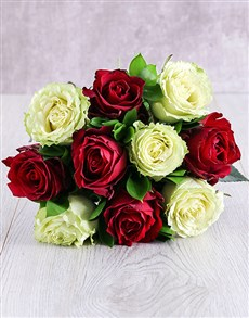 flowers: Red and White Ethiopian Rose Bouquet!
