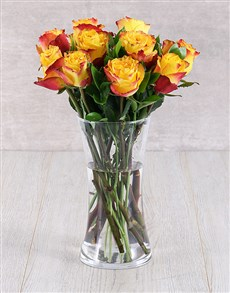flowers: Orange Ethiopian Roses in Glass Vase!