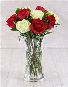 flowers: Red and White Ethiopian Rose Vase!