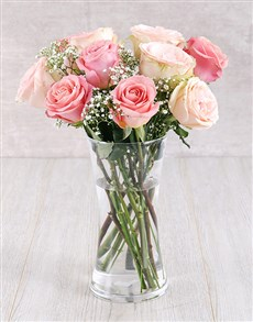 flowers: Light Pink Ethiopian Roses in Glass Vase!
