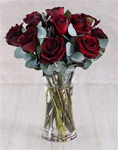 flowers: Burnt Red Ethiopian Roses in Glass Vase!