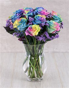 flowers: Rainbow Ethiopian Roses in Bubble Vase!