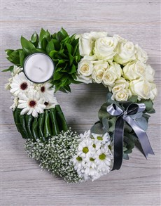 flowers: Green and White Funeral Heart!