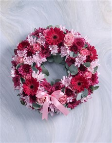 flowers: Pink and Purple Sympathy Wreath!