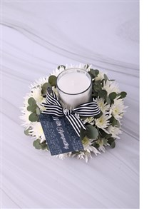 gifts: White Spray Sympathy Candle!