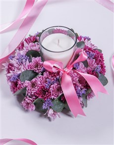 flowers: Pink and Purple Spray Sympathy Candle!