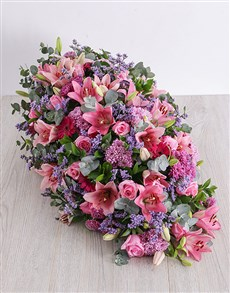 flowers: Pink and Purple Funeral Coffin Display!