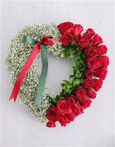 flowers: Red Rose and Million Star Funeral Heart!