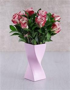 flowers: Variegated Roses in Pink Twisty Vase!