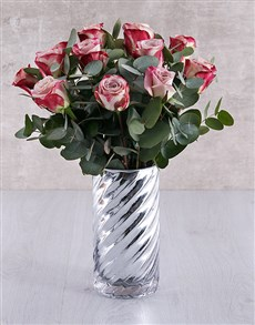 flowers: Variegated Roses in Cylinder Twirl Vase!