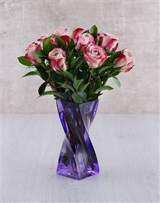 flowers: Variegated Roses in Purple Twisty Vase!