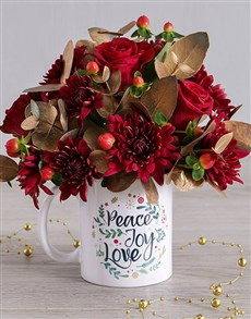 Golden Red Spray Mug Arrangement