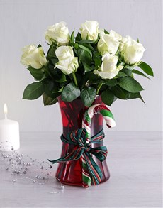 flowers: White Candy Cane Rose Vase!