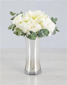 flowers: Cut Amaryllis and Gum Leaves in Silver Flair Vase!