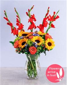 flowers: Mixed Gladiolus and Sunflower Vase!