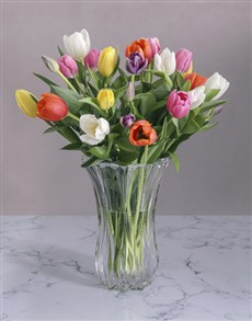 flowers: Tulips in a Crystal Vase!