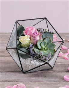 flowers: Rose Succulent Terrarium!