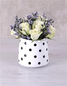 flowers: White Roses in Polka Dot Vase!