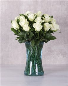 flowers: White Majestic Rose Arrangement!