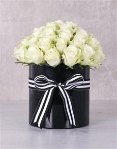 flowers: White Roses in Ribbon Stripe Box !